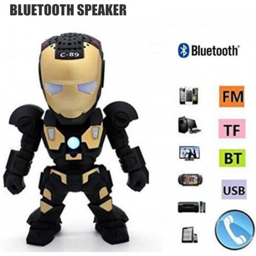 Fuy Bill C 89 Bluetooth Speaker with LED Flash Light Deformed Arm Figure Robot Portable Mini