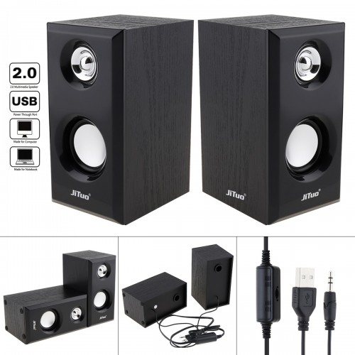 New USB 2 0 Wooden Subwooferactive loudspeaker Multimedia Speaker with 3 5mm Stereo Jack and Bass