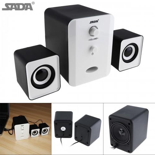SADA Full Range 3D Stereo 2 1 Small Subwoofer PC Speaker Portable bass Music USB soundbar