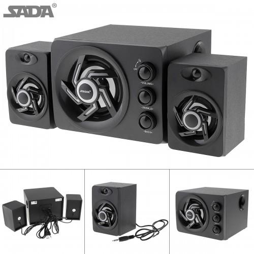 SADA wooden 3D Stereo Subwoofer Newest 100 Bass PC Speaker Portable Music DJ USB Computer Speakers