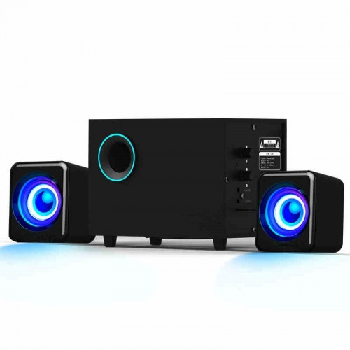 Wooden Computer Speakers Surround Stereo Home Theater Multimedia Combination Subwoofer USB Port 2 1 Laptop Desktop