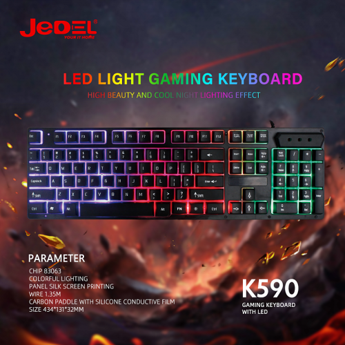 Jedel K590 LED RGB Backlight Wired Gaming Keyboard