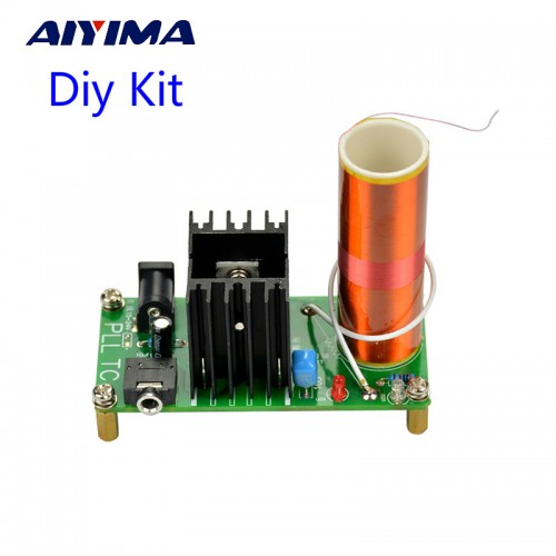 Aiyima Diy Kits 15W Mini Music Tesla Coil Plasma Speaker Tesla Arc Generator Wireless Transmission DC