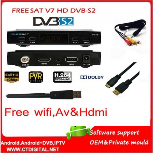 freesat V7 5pcs Youtube free video  newcam set top box FREESAT