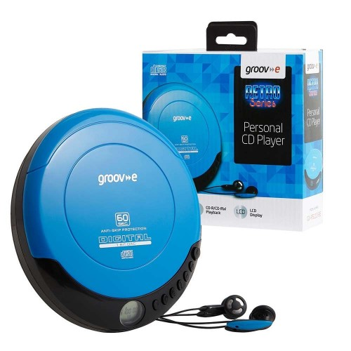 Groove Retro Personal CD Player Programmable Memory LCD Display Anti-Skip Protection And Earphones