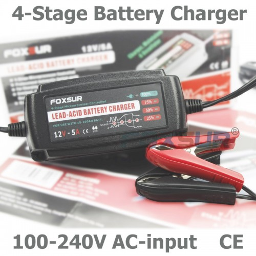 12V Automatic Smart Battery Charger Maintainer Desulfator for Lead Acid Batteries Car Battery Charger