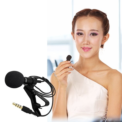 Besegad Clip on Collar Tie Phone Lavalier Microphone Mic for iOS Android Cell Phone Laptop Tablet