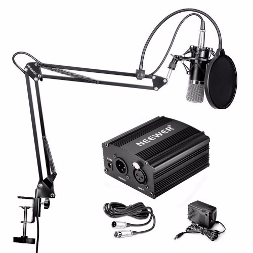 Condenser Microphone Stand Cable and Mounting Clamp