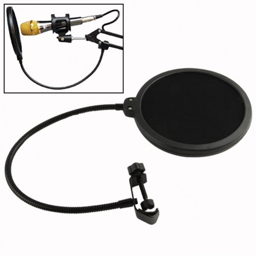 Double Layer Studio Microphone Mic Wind Screen Pop Filter Swivel Mount Mask Shied