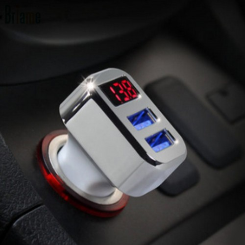 Car Charger Quick Charge Digital Display Dual USB Port for iPhone 5 5S 6 6S 7 7s
