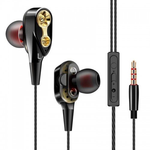 Super Bass Wired Earbuds Dual Driver Earphones Deep Bass Stereo In Ear Headphones With Mic