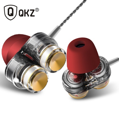 Genuine QKZ KD7 Earphones Dual Driver With Mic gaming headset mp3 DJ Field Headset audifonos fone