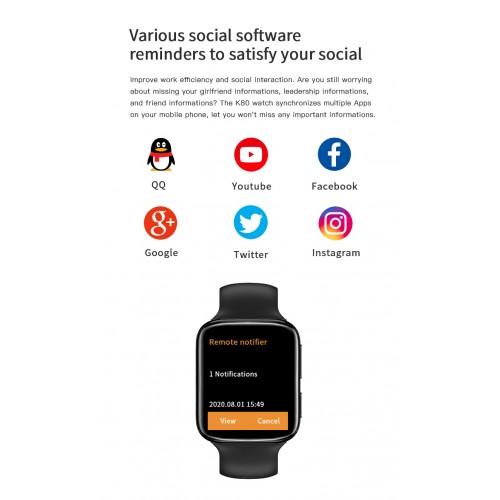 K80 Smartwatch Touchscreen Bluetooth Call Music Control Heart Rate Blood Oxygen Monitoring Watch
