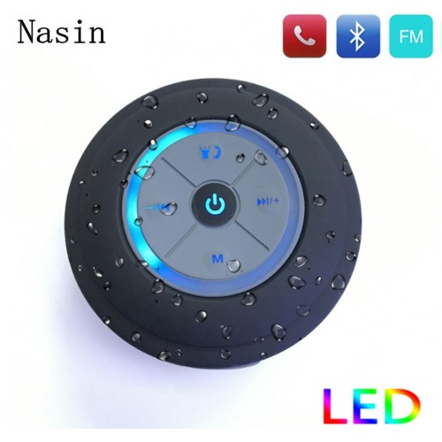Nasin Portable Subwoofer Shower Waterproof Wireless Bluetooth Speaker Car Handsfree Call Music Suction Mic For IOS