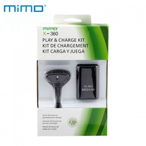 package 4800mAh Rechargeable Battery Pack for XBOX 360 Wireless Controller Cable black