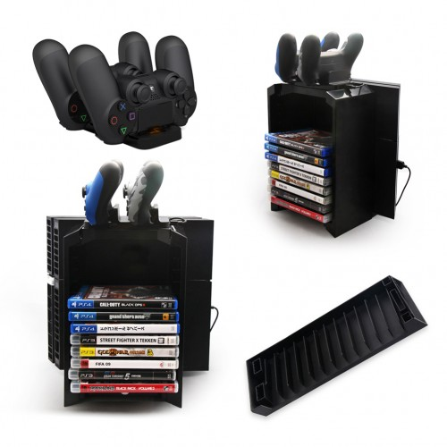 Multifunctional Disk Storage Holder Tower with Controller Charger Dock Station With Micro