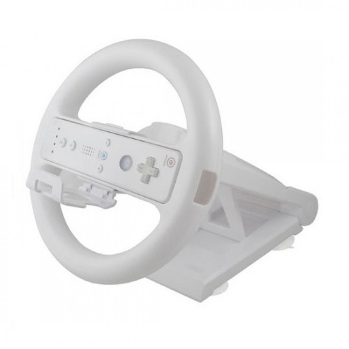 White Multi angle Racing Game Steering Wheel Stand for Nintendo Wii Console Controller