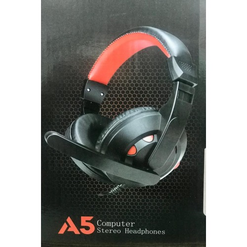 A5 Computer Stereo Headphones Dual Pin Wired Headset With Stick Mic For PC