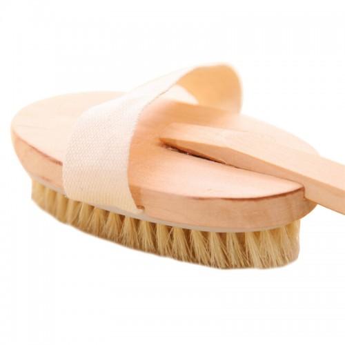 Body Natural Dry Skin Exfoliation Brush Massager Bath Shower Scrubber Natural Wood Bath Body Brush