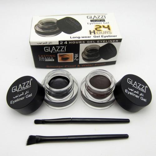 2pcs sets Professional Makeup Black Brown Eyeliner Gel Kosmetika 24 Hours Long Lasting Waterproof Eye Liner.
