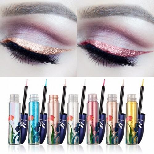 Brand HUAMIANLI Ultra shining Glitter Liquid Eyeliner Pigments Waterproof Silver Gold Blue Shimmer Eye Liner Sticker.