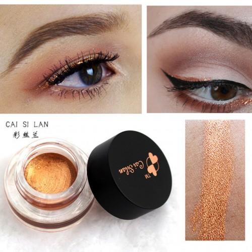 Cai Si Lan Brand Glitter Eye Liner Gel Waterproof Black Gold Eyeliner Cream Makeup Long Wear.