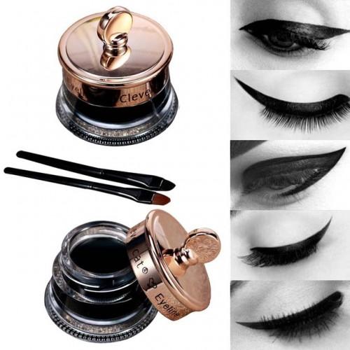 Dropship Makeup Set Long Lasting 1pcs Henna Eye Liner Gel 1pcs Make Up Brush Waterproof Black.