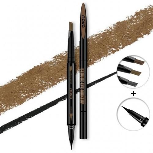 Waterproof Double Head Brown Grey Eyeliner liquid Autorotation Quick Dry Beauty Eye Makeup Cosmetic Long.