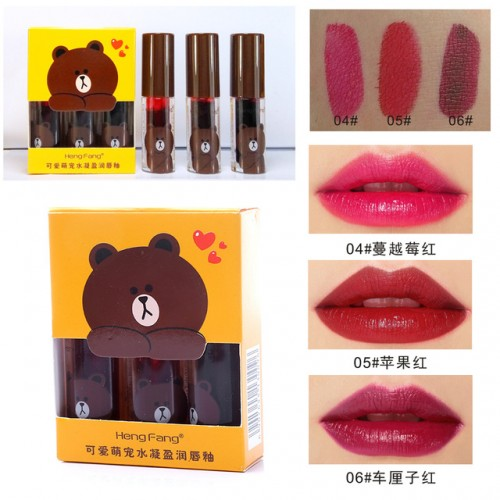 HengFang Brand Lips Makeup Waterproof LipGloss Pigments Red Long Lasting Moisturizing 3pcs Matte Lip Tint Set.jpg 640x640