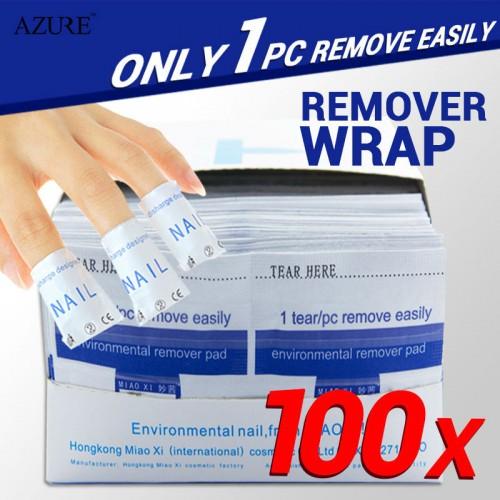 100Pcs Polish Cleaner Gel Nail Wrap