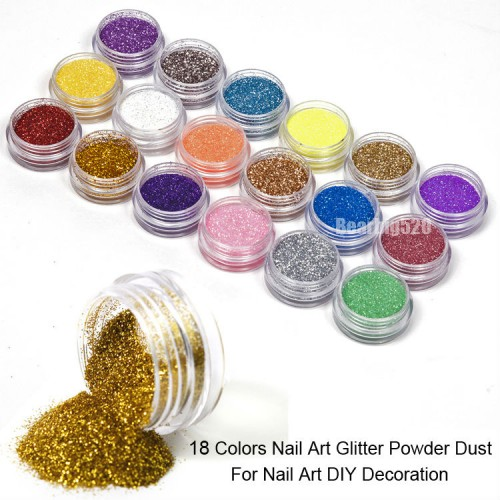 Fashion 18 Colors Nail Art Glitter Dust Powder