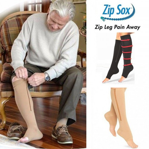 Fitness Zipper Compression Socks Zip Circulation Pressure Leg Support Knee Sox  Reduce Pain