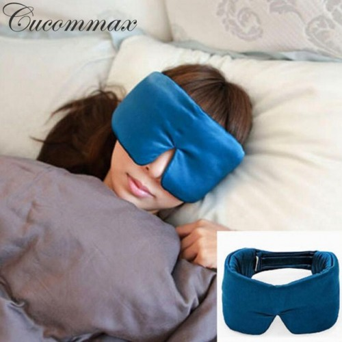 Cucommax 100 Natural Silk Sleeping Eye Mask Eye Shade Thicker Sleep Mask Black Mask Bandage on