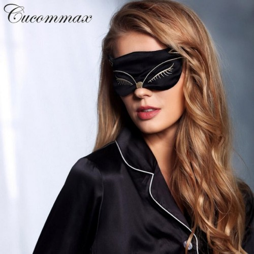 Cucommax Duplex 100 Natural Silk Sleeping Eye Mask Eye Shade Sleep Mask Black Mask