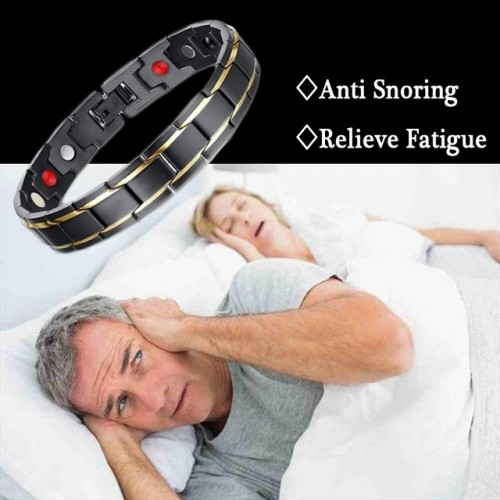 New Men Magnetic Therapy Bracelet Classic Titanium Steel Anti snoring Health Care DC88 Anti Snore