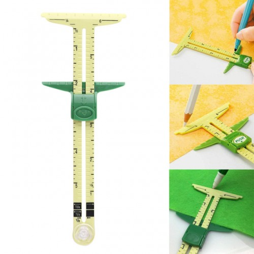 1PC Multifuction 5 In 1 Sliding Gauge Caliper Measuring Sewing Tool Portable
