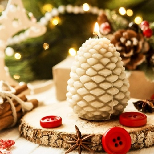 3D Christmas Pine Cone Food grade Silicone Candle Mold Aromatherapy Soap Mould For Candle Making Chocolate