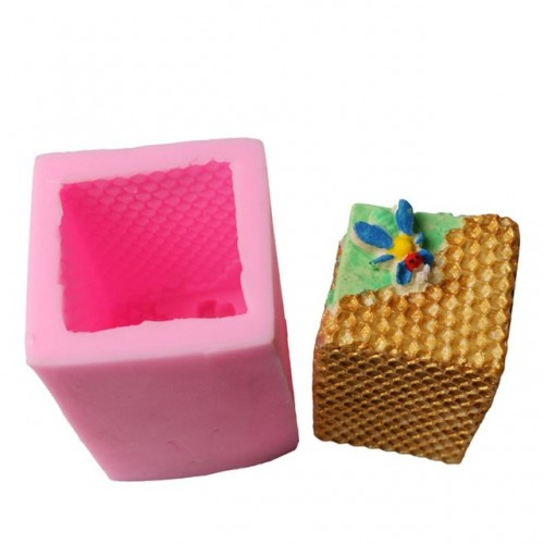 DIY Soap Form Bee nest candle silicone mold 3d square Candle Fondant Cake Mould Pudding