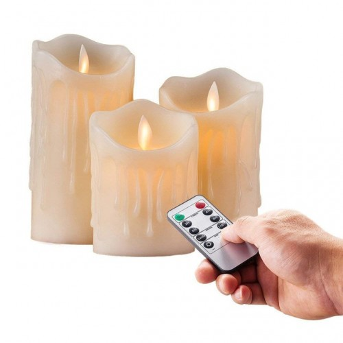 set of 3 Flickering Flameless Pillar LED Candle Remote controlled timer Moving Dancing wick melted edge