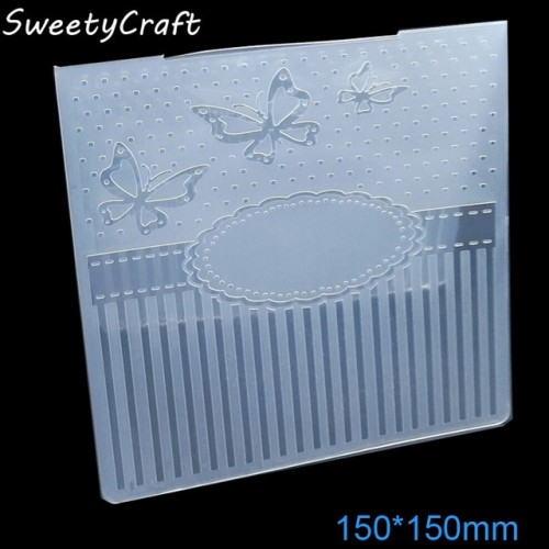 15 15cm Butterfly Dot Textured Embossing Folder Plastic Card Making Stamps Scrapbooking Paper Craft Supplies Impressions