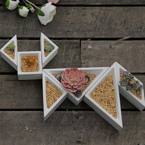 Concrete Planter Silicone Mold Rhombus Hexagon Shaped Geometric Home Decoration Craft Potting Succulent Plants Cement Vase