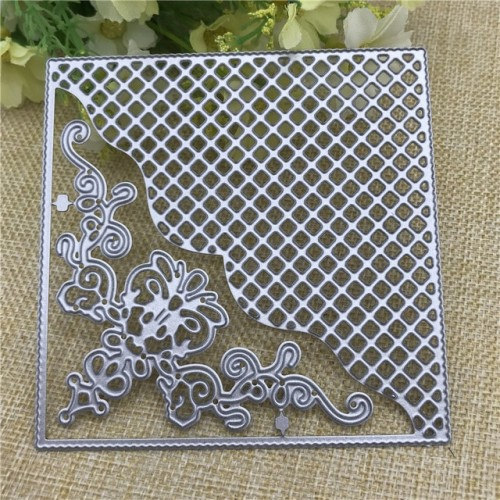 Grid Background Square Frame Metal Cutting Dies Stencils for DIY Scrapbooking DIY Paper Cards Photo Album