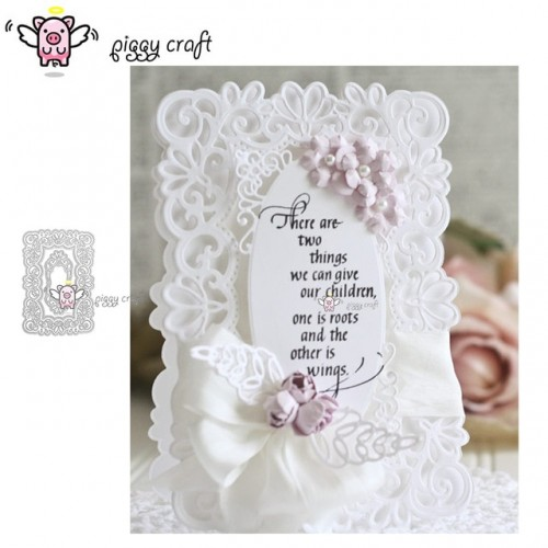 Piggy Craft metal cutting dies cut die mold Lace background frame Scrapbook paper craft knife mould