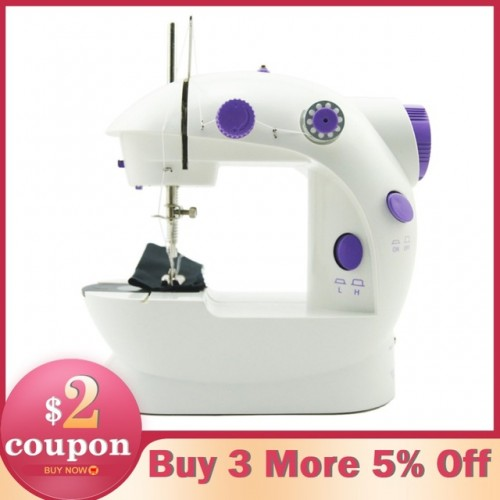 Electric Mini Sewing Machine For Home Hand Machine To Sew 110 220V Speed Adjustment with Light