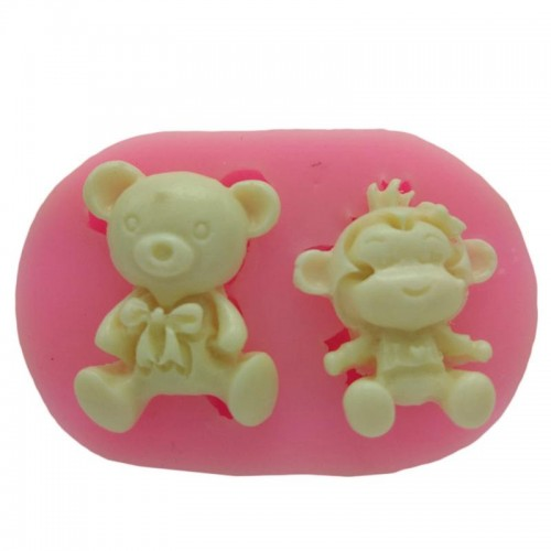 Cartoon Monkey And Bear Modeling Silicone Mold Flexible Reusable DIY Cake Decorating Silicone Molds For Soap