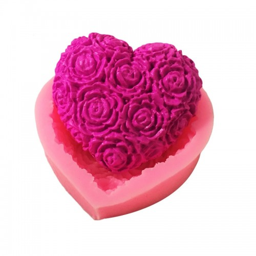 Lovely Heart Rose Flower Silicone Soap Mold DIY Fondant Cake Form Soap Making Supplies 3d Handmade