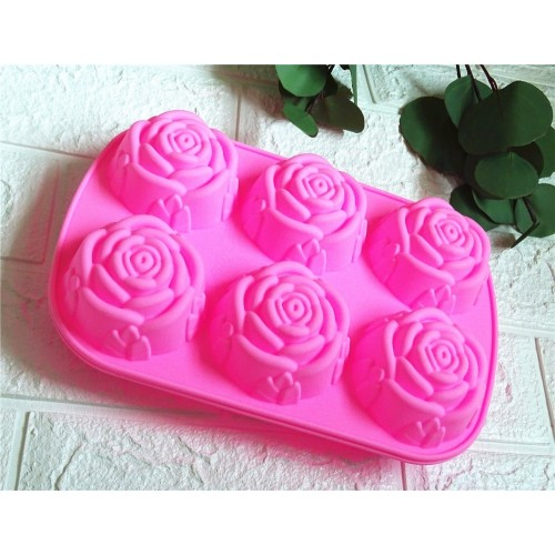 Soap Making 6 Roses Silicone Cake Mould Ice Cream Pudding Jelly Mould Soap Products Production Mold