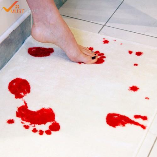 Bath Mat Blood Footprint Microfiber Bottom Blood Foot Bath Mat