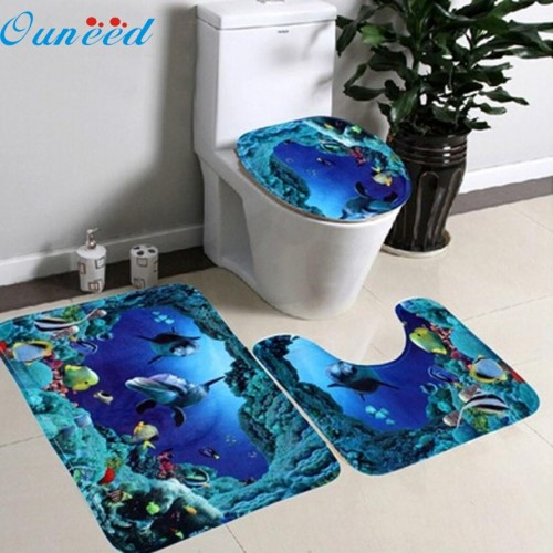 Bathroom Non Slip Blue Ocean Style Pedestal Rug Lid Toilet
