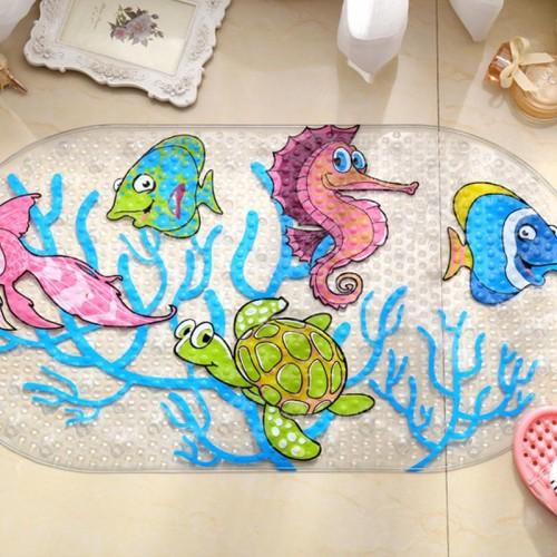 Cartoon Anti Slip  Bath Mat Cups Seaworld Turtle Fish Carpet Used For Bathroom